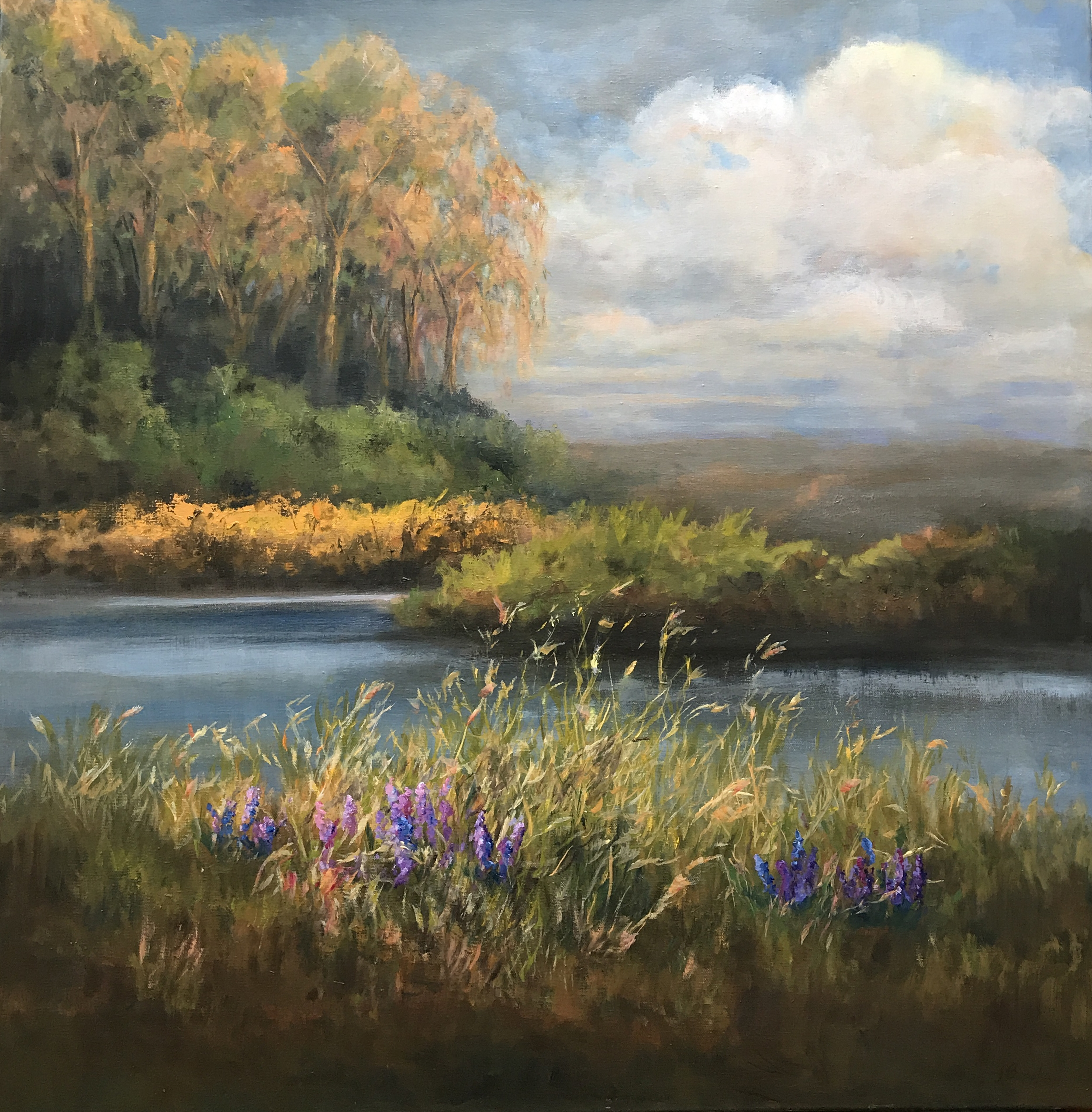 """Quiet Afternoon Revisited, 30"""" x 30"""" S OLD"""