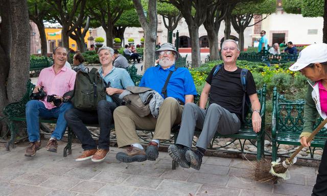 L-R, Richard Ellis, Andrew Sullivan, Bob Krist, and Ian Lloyd make way for street sweeping in San Miguel. Photo by Peggy Krist
