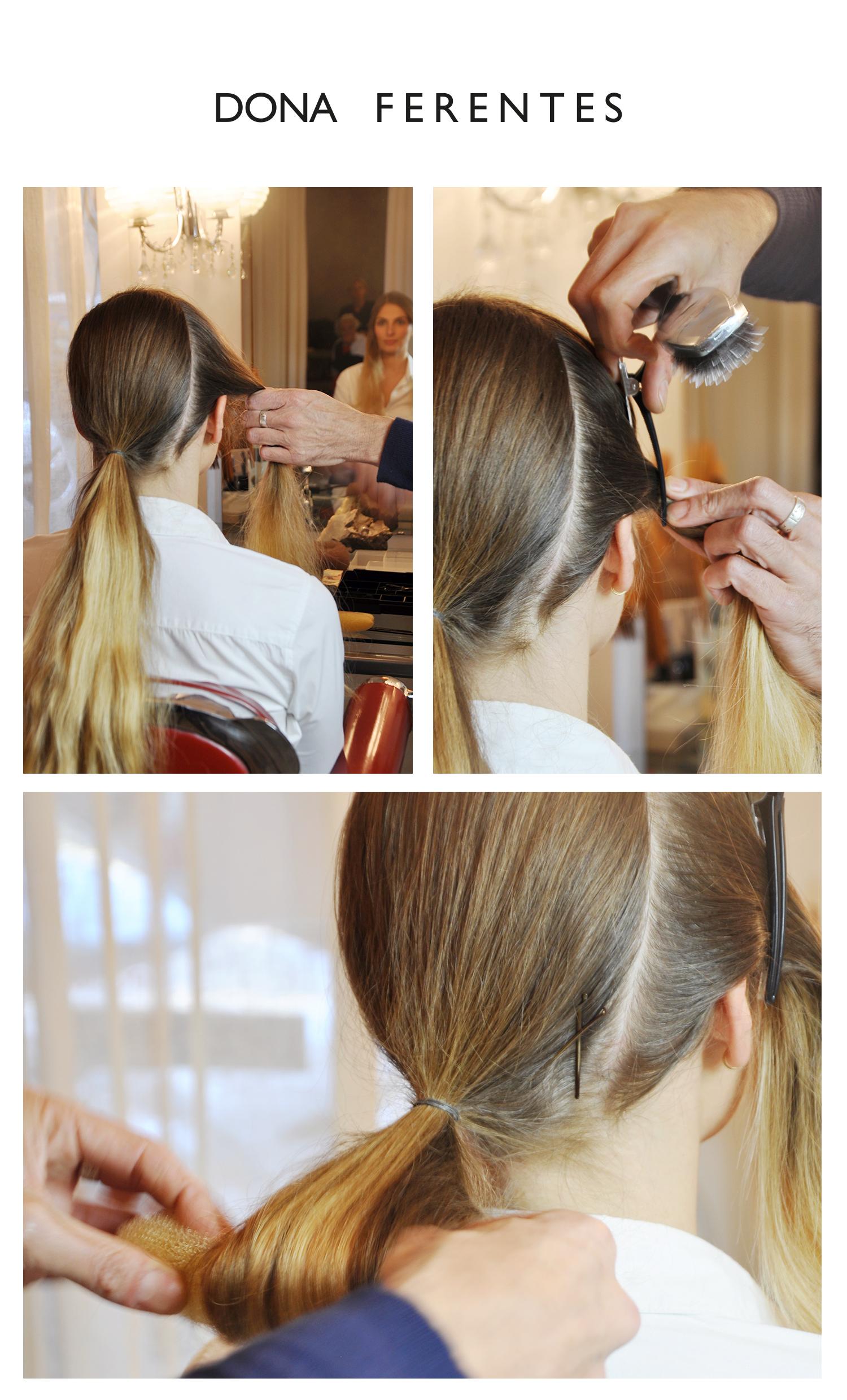 Brosser vos cheveux. Diviser la tete en deux parties une oreille a l autre. Mettre des pinces temporairement sur le dedans et faire une queue de cheval sur l'arrière à la base de la nuque.
