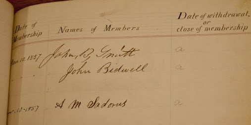 John Bidwell's name in the lodge registry, January 10, 1857.