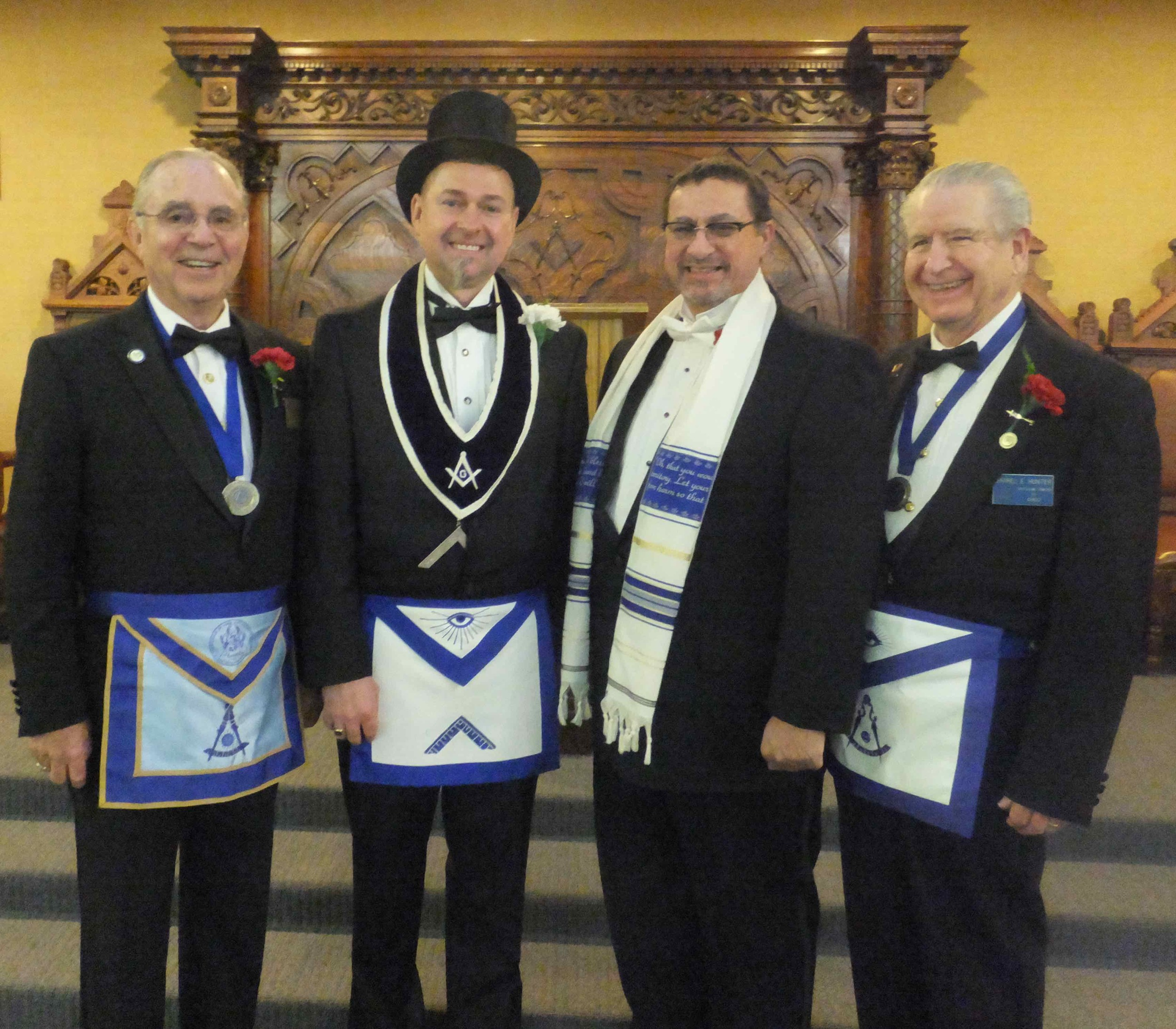 Past Masters of Chico and Oroville lodges with 2016 Worshipful Master Matthew Cherrington. 2014 & 2015 past Master Steve Catterall was not able to attend.