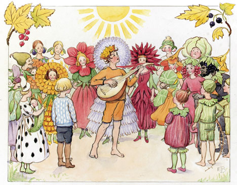 Nature deity September serenades the garden to prepare for Fall harvest, equinox and the coming of King Winter. (from Christopher's Harvest Time, Elsa Beskow)