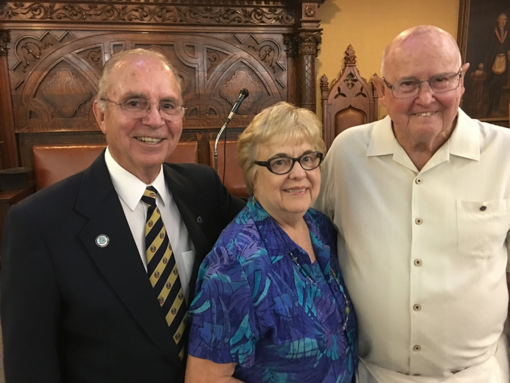Pictured from left are Darrel Deatherage, inspector of Masonic District 216 and a member of the lodge, and Carolyn and Ken Clayton. The Claytons reside in Texas and Butte Meadows.