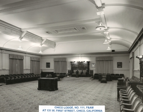 Lodge room 1908-1994 located on the 2nd floor of the Chico Masonic Temple building, built next to (east of) the Jones (colliers) hardware building. Both the 111 and 784 lodges used this lodge room.