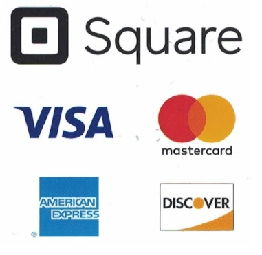 We take any of the following Credit Cards using Square to pay for your event. A standard 3% processing fee applies. Checks and Cash are also welcome.