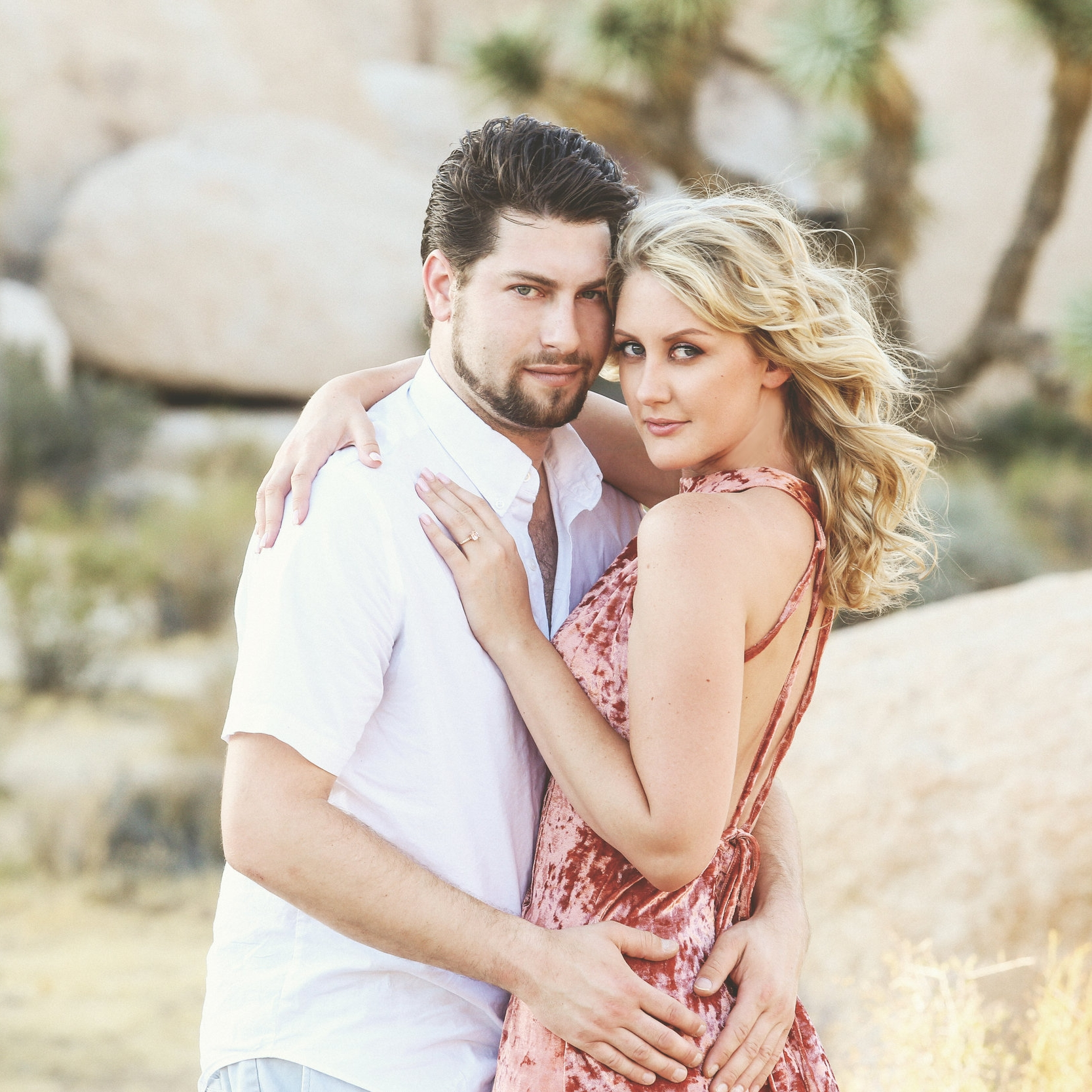 Natural Makeup for Blue Eyes.  Engagement photos taken in Joshua Tree.  Makeup by Ventura Wedding Makeup Artist Glory Munoz
