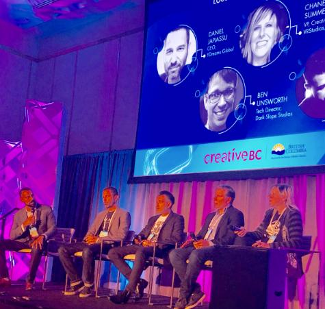 Intel's Raj Puran, with YDreams' Daniel Japiassu; VR Studios' Chanel Summers; Dark Slope Studios' Ben Unsworth, and DreamCraft Attractions' Krystian Guevara at the location-based entertainment panel, September 22, 2018