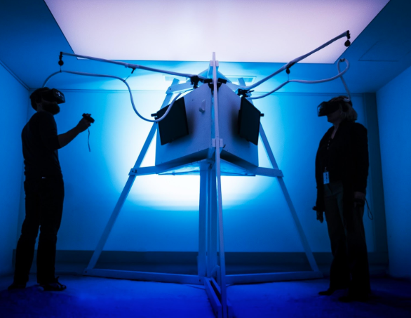 Many current VR applications are still restricted by hardware tethering. Photo: Stella Jacob