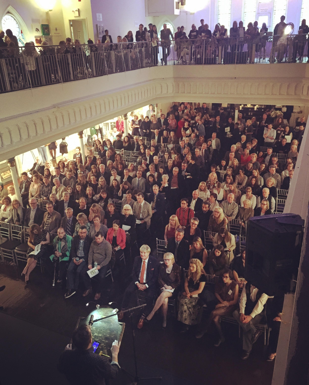 Michael Landsberg addresses the crowd at the 11th annual Art Gems