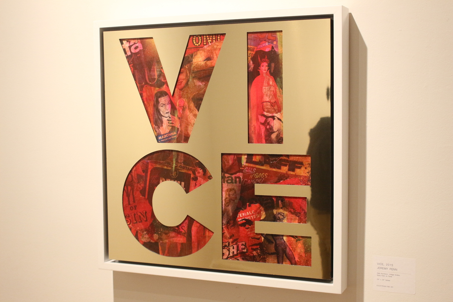 Vice , 2015, gold aluminium, vintage erotica and spray paint on panel, 26 x 26 inches  (inquire)