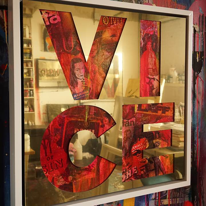 Vice ,2015, gold aluminium, vintage erotica and spray paint on panel, 26 x 26 inches  (inquire)