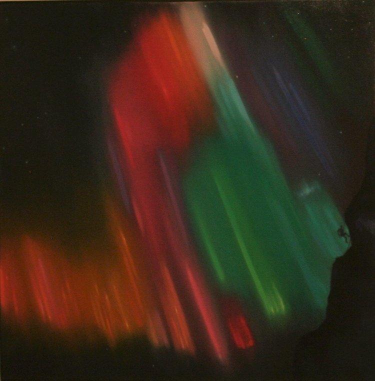 Suspended in a Light Dance on Napasorsuaq, Greenland , 2016, oil on canvas, 36 x 36 inches  (inquire)