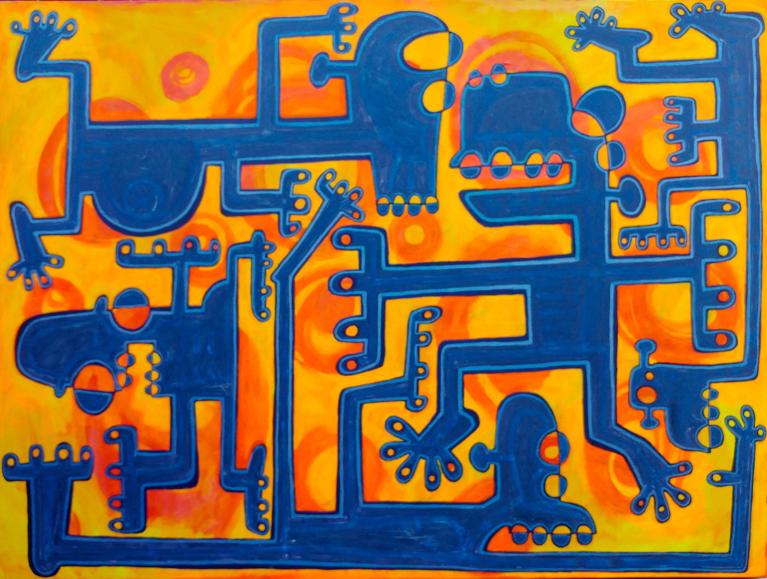 Nite Konectionz , 2017, acrylic and phosphorescent paint on canvas, 36 x 48 inches  (inquire)