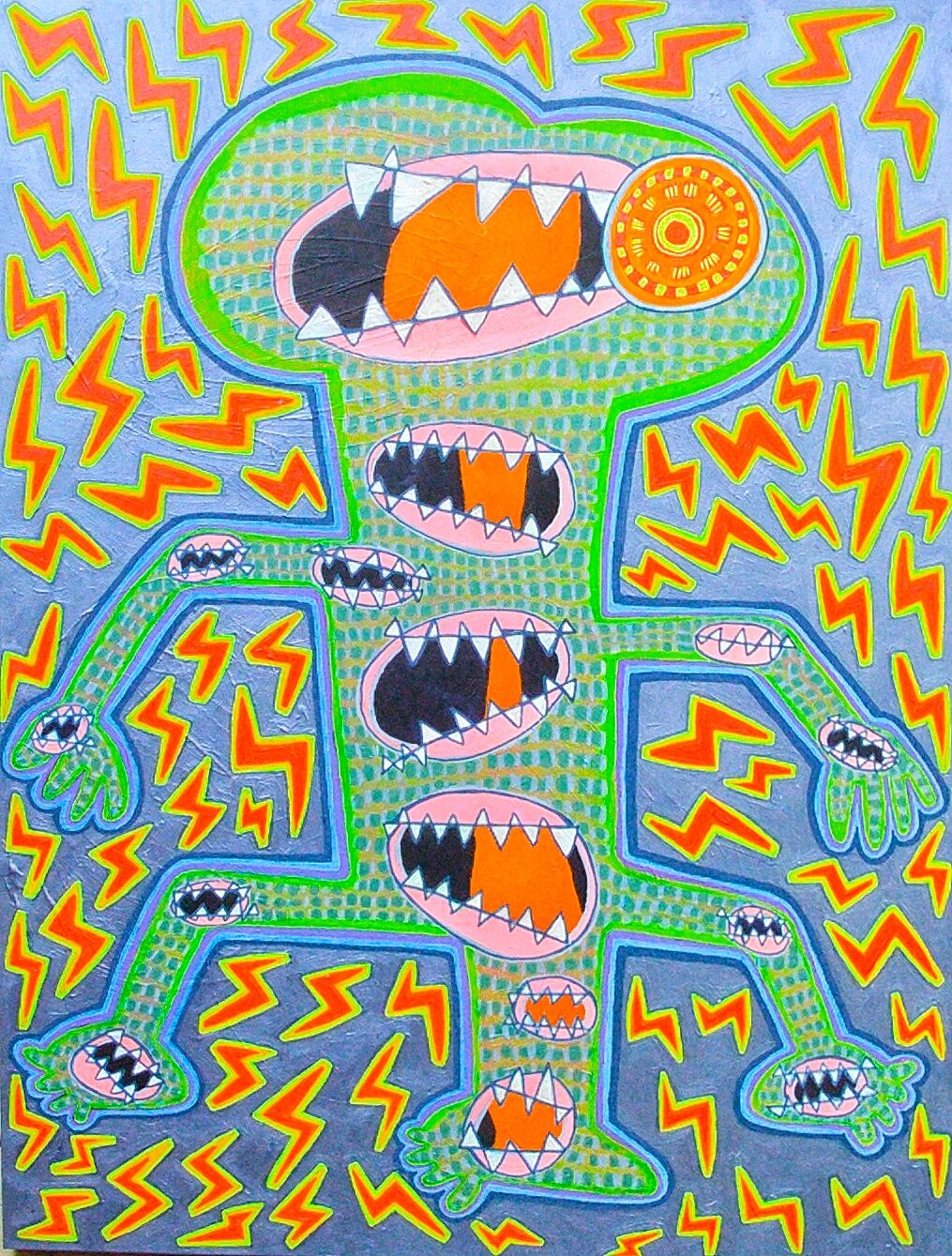 Skreeming MonstR , 2017, acrylic and phosphorescent paint on canvas, 40 x 30 inches  (inquire)