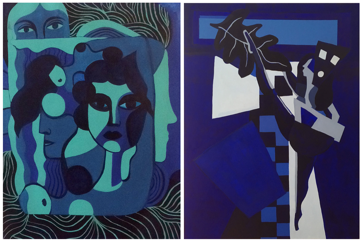 L:  Hanna Barczyk,  Blue Romance , 2018, acrylic on canvas, 47 x 35 inches  (inquire)   R:  Franziska Barczyk,  Opportunity , 2018, acrylic on canvas, 48 x 36 inches  (inquire)