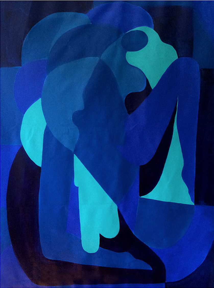 Hanna Barczyk,  Dreaming in Blue , 2018, acrylic on canvas, 54 x 62 inches  (inquire)
