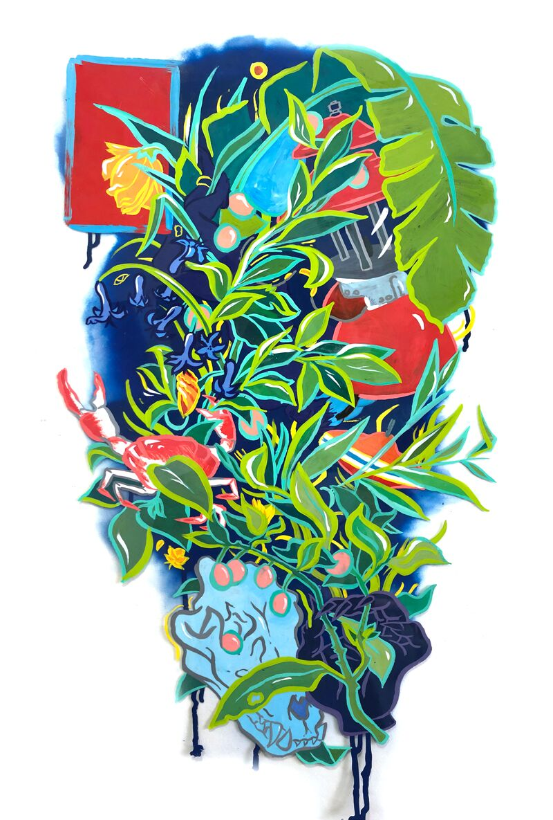Bouquet for Damaclese  2019, Enamel and spray paint on duralar, 40 x 25 inches  (inquire)