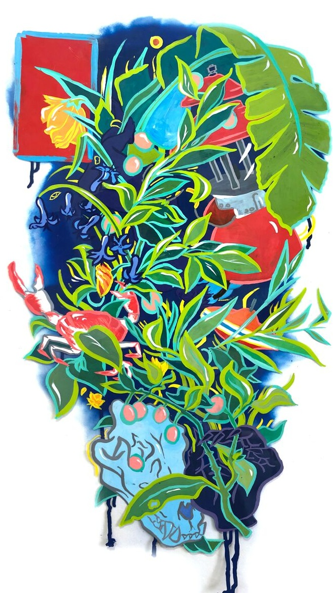 Bouquet for Damaclese  2019, Enamel and spray paint on duralar, 40 x 25 inches