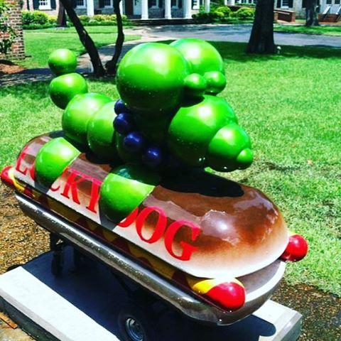 The @luckydogsnola #beaddog . Man, we love this city! #luckydog #sculpture #art #local #love #beads #dog #hotdog #neworleans #tradition #nola #food #eats