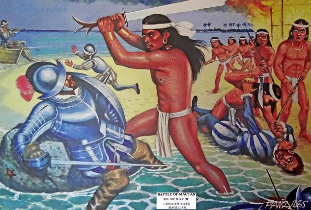 https://www.flickr.com/photos/bilwander/16546242180  Battle of Mactan. Painting by Manuel Pañares