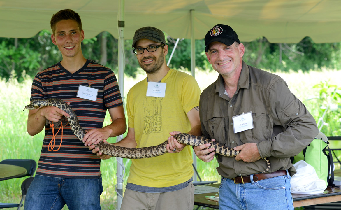 A six-foot-long bull snake found by herpetologists was one of nearly 700 species found during the Dixon Waterfowl Refuge's first-ever BioBlitz event.