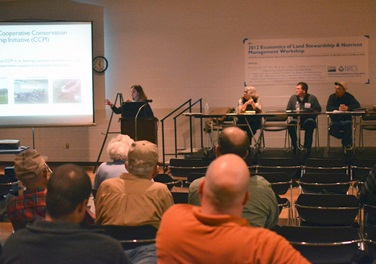 Jill Kostel, TWI senior environmental engineer, explains water quality trading at the March 2nd producer workshop.