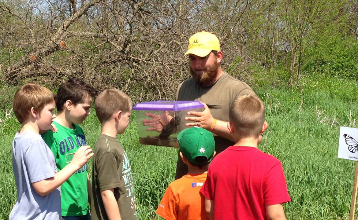 Learning about leopard frogs at Midewin.