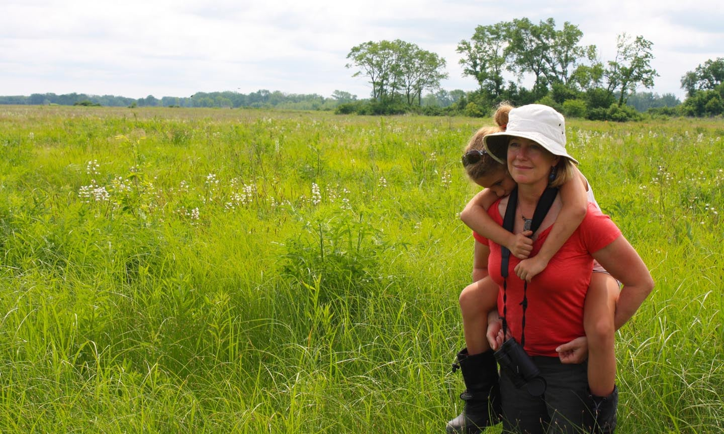 Mother and daughter enjoying a visit to Midewin National Tallgrass Prairie.
