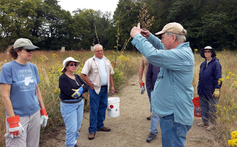 Before work began, TWI senior ecologist Gary Sullivan gave volunteers an overview of the site and orientation to the native plants from which they'd be harvesting seed.