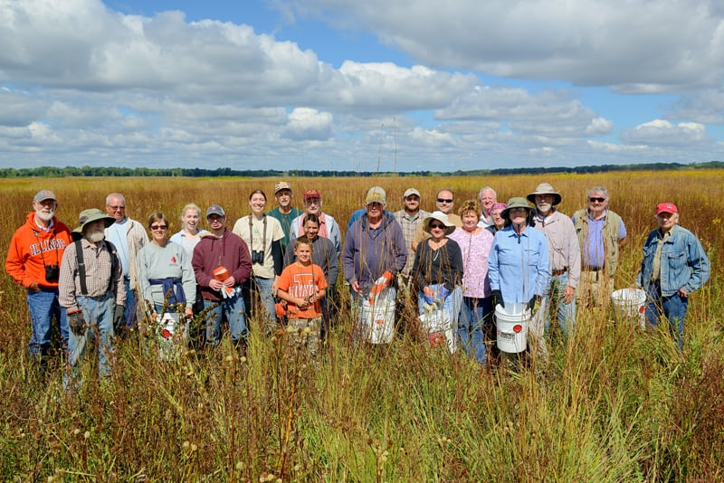 Nearly 20 volunteers participated in the Wetlands Initiative's annual Fall Seed Harvest at the Dixon Waterfowl Refuge.