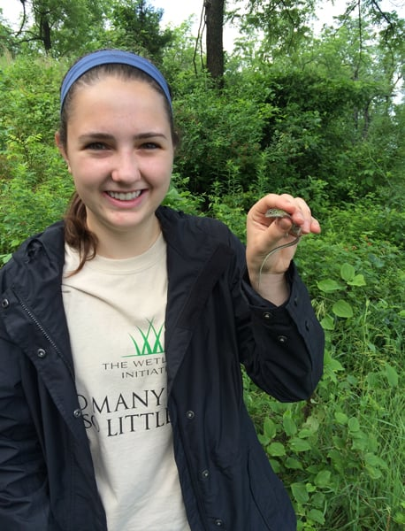 Laura Beshilas (posing here with a six-lined racerunner lizard!) helped coordinate the BioBlitz during her spring internship with the Wetlands Initiative.