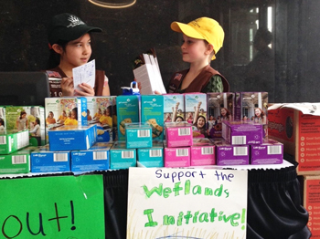 Brownies of the Rainbow Troop supporting TWI during their cookie sales.