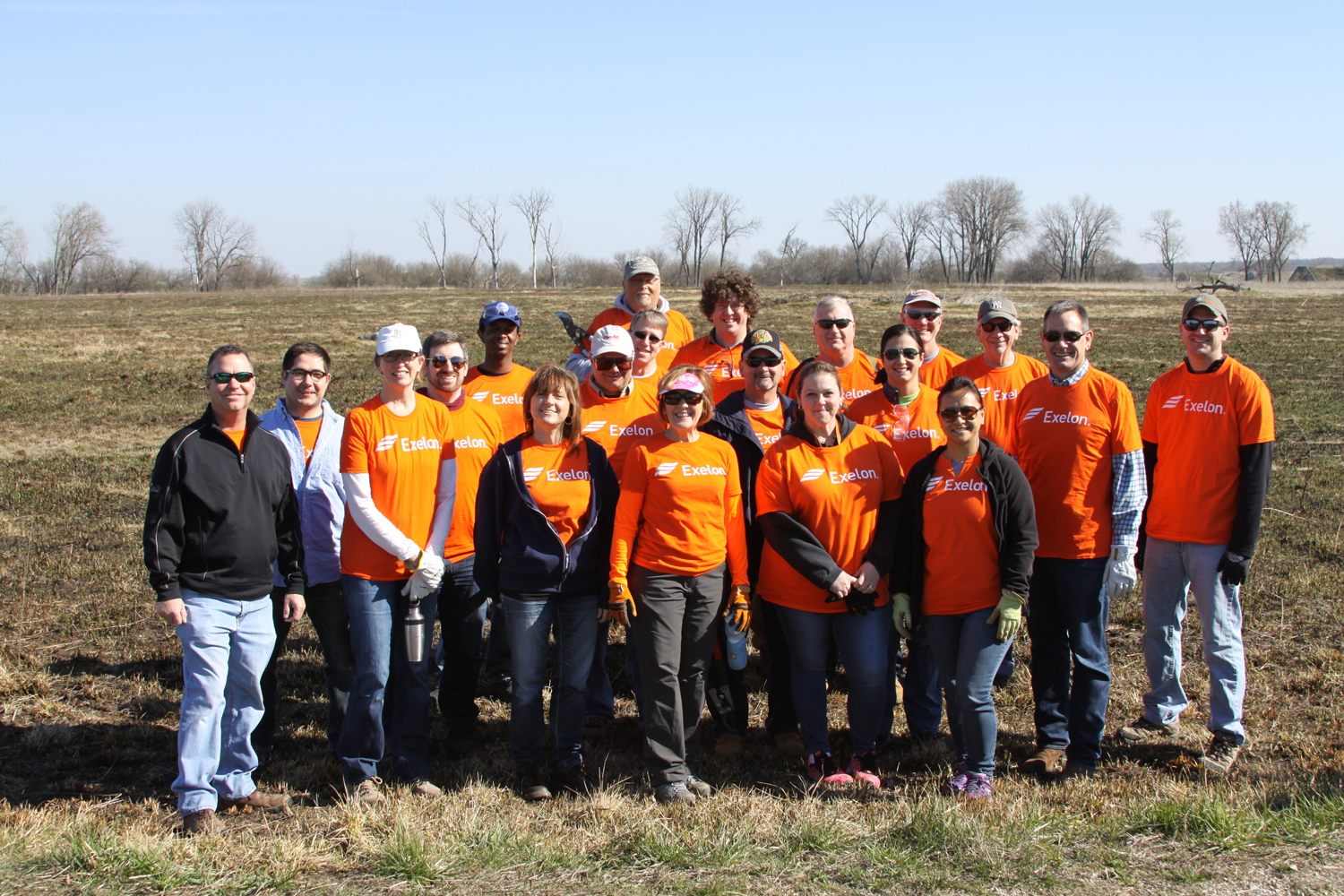 Twenty volunteers from Exelon participated in a TWI volunteer day at Midewin National Tallgrass Prairie to clear invasive brush from a prairie and wetland restoration area for National Volunteer Week.