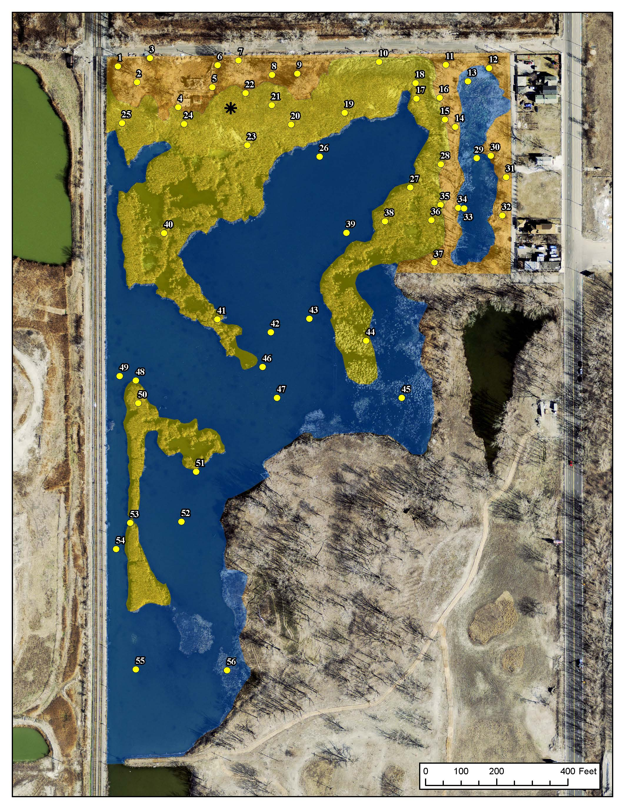 Map of survey points for monitoring Indian Ridge Marsh plant communities. Created by TWI GIS Analyst Jim Monchak and Senior Ecologist Gary Sullivan.