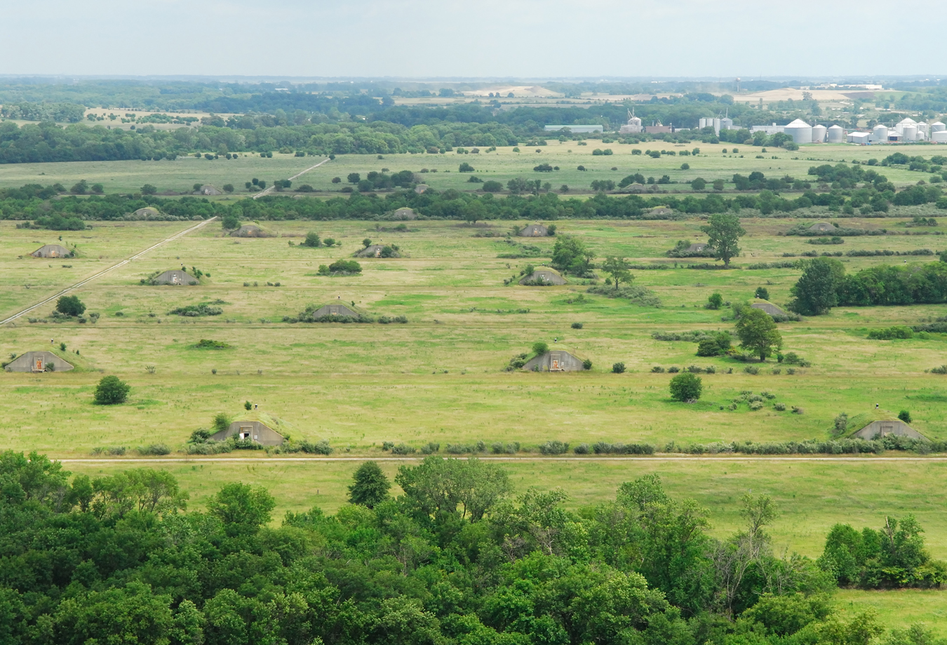 An aerial view of a portion of Midewin National Tallgrass Prairie that will be restored under the new seven-year project, including former arsenal ammunition bunkers. Old bunkers will be removed by the Forest Service over the course of this project.