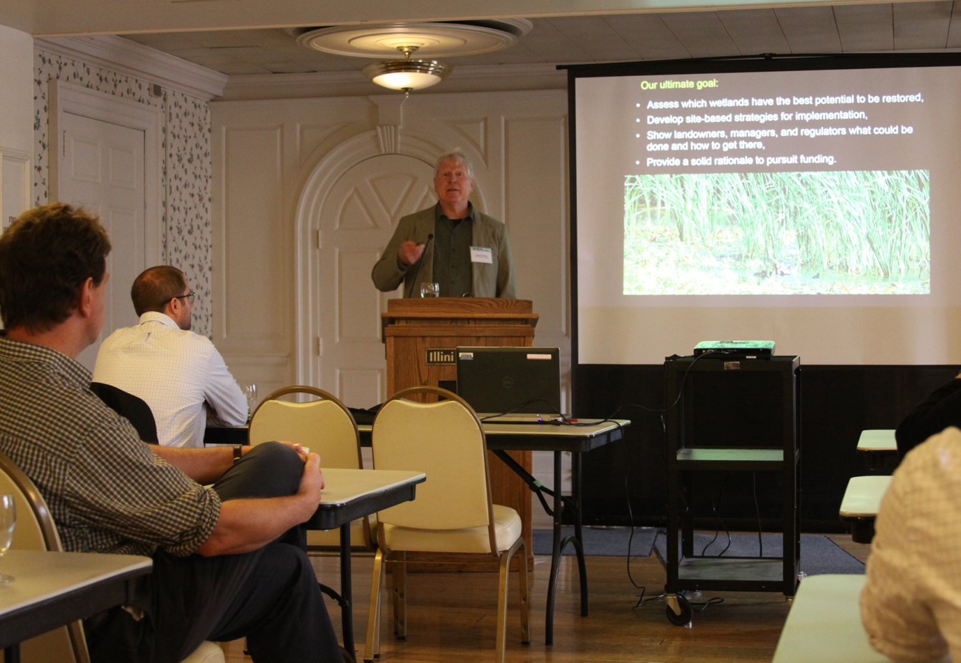 TWI Senior Ecologist Dr. Gary Sullivan presents during a conference session on hemi-marsh restoration in Chicago's Calumet region.