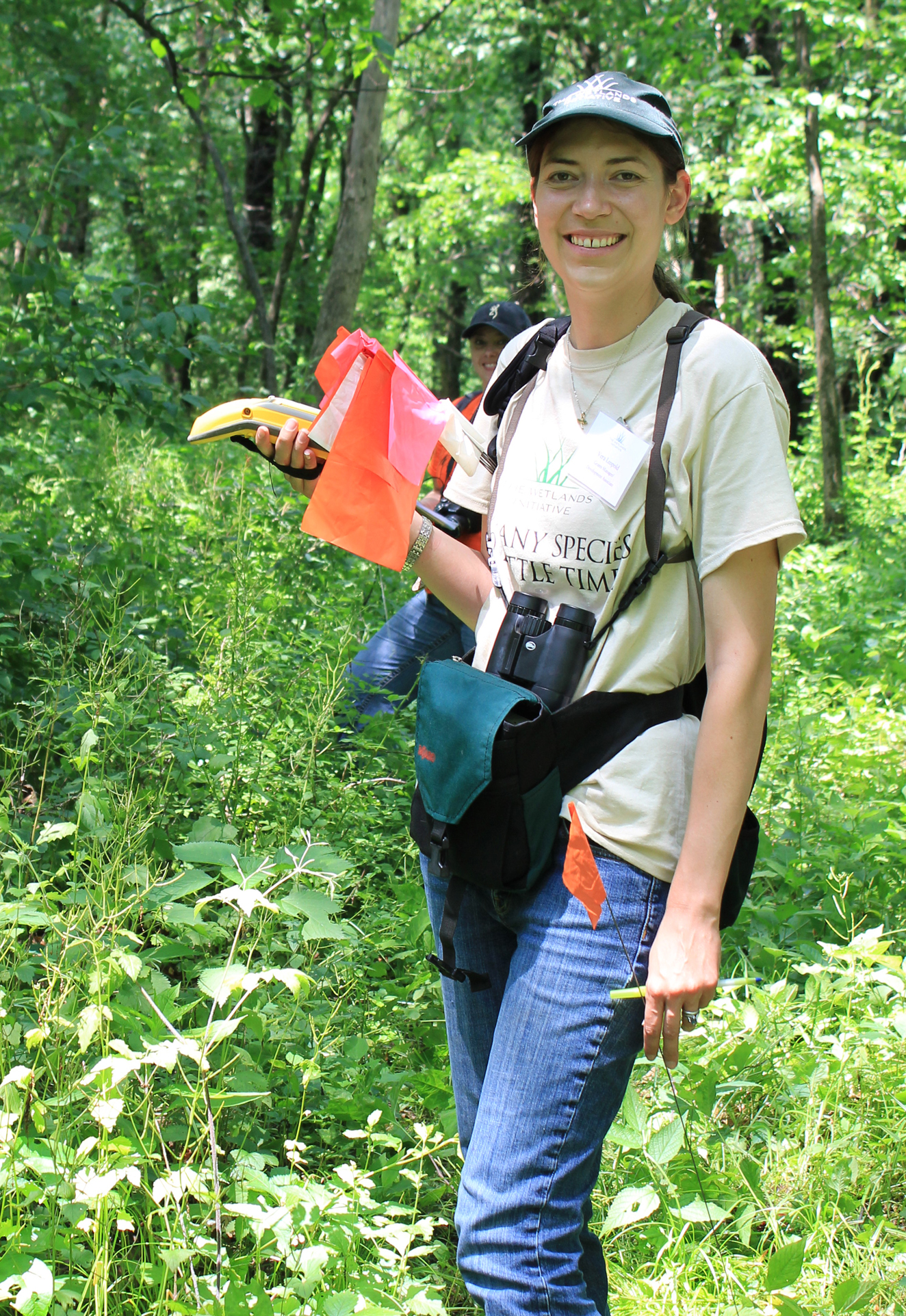 TWI Grants Manager Vera Leopold geared up for surveying at Hickory Hollow in 2015.