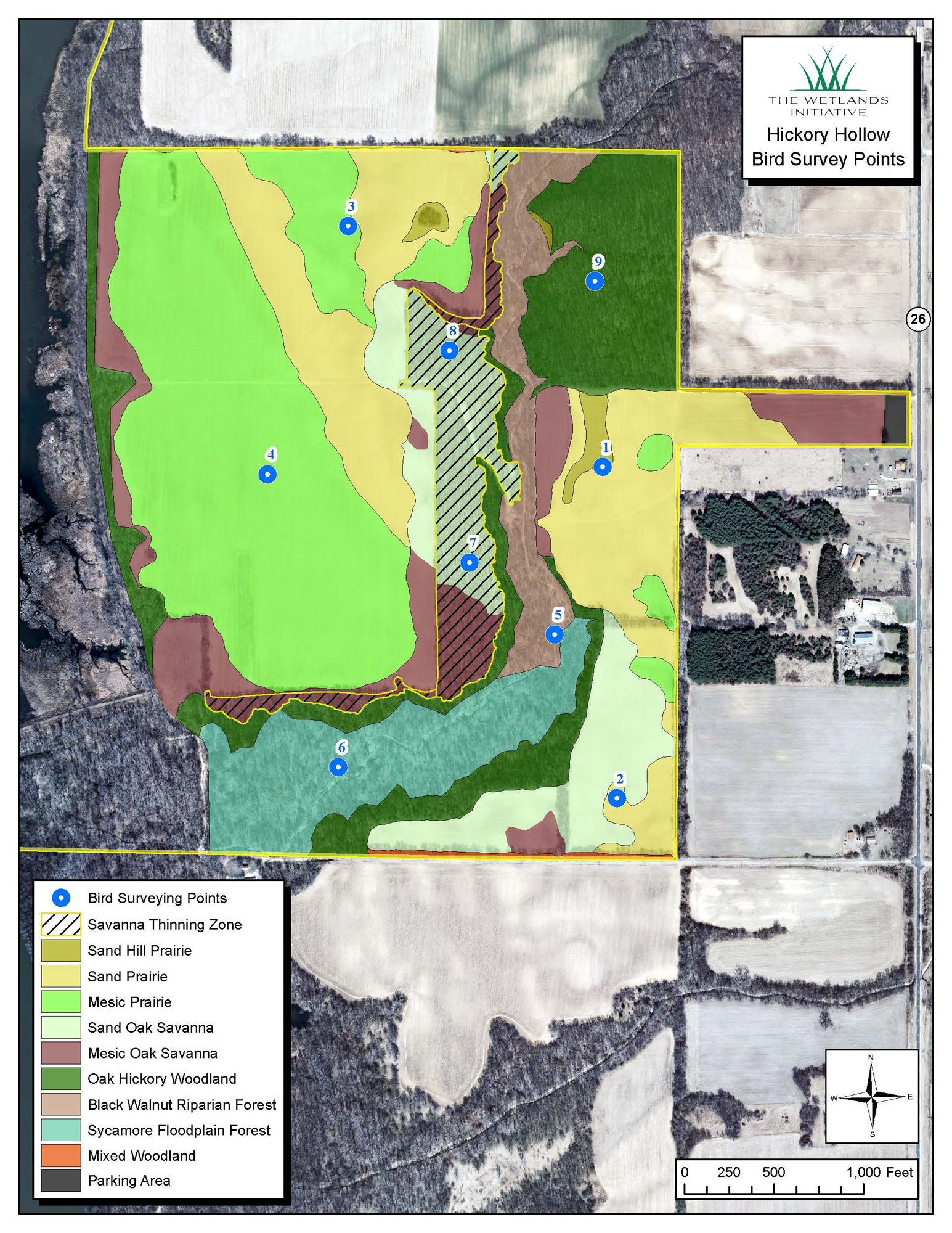 Map of bird surveying points and projected habitats on the Hickory Hollow parcel.