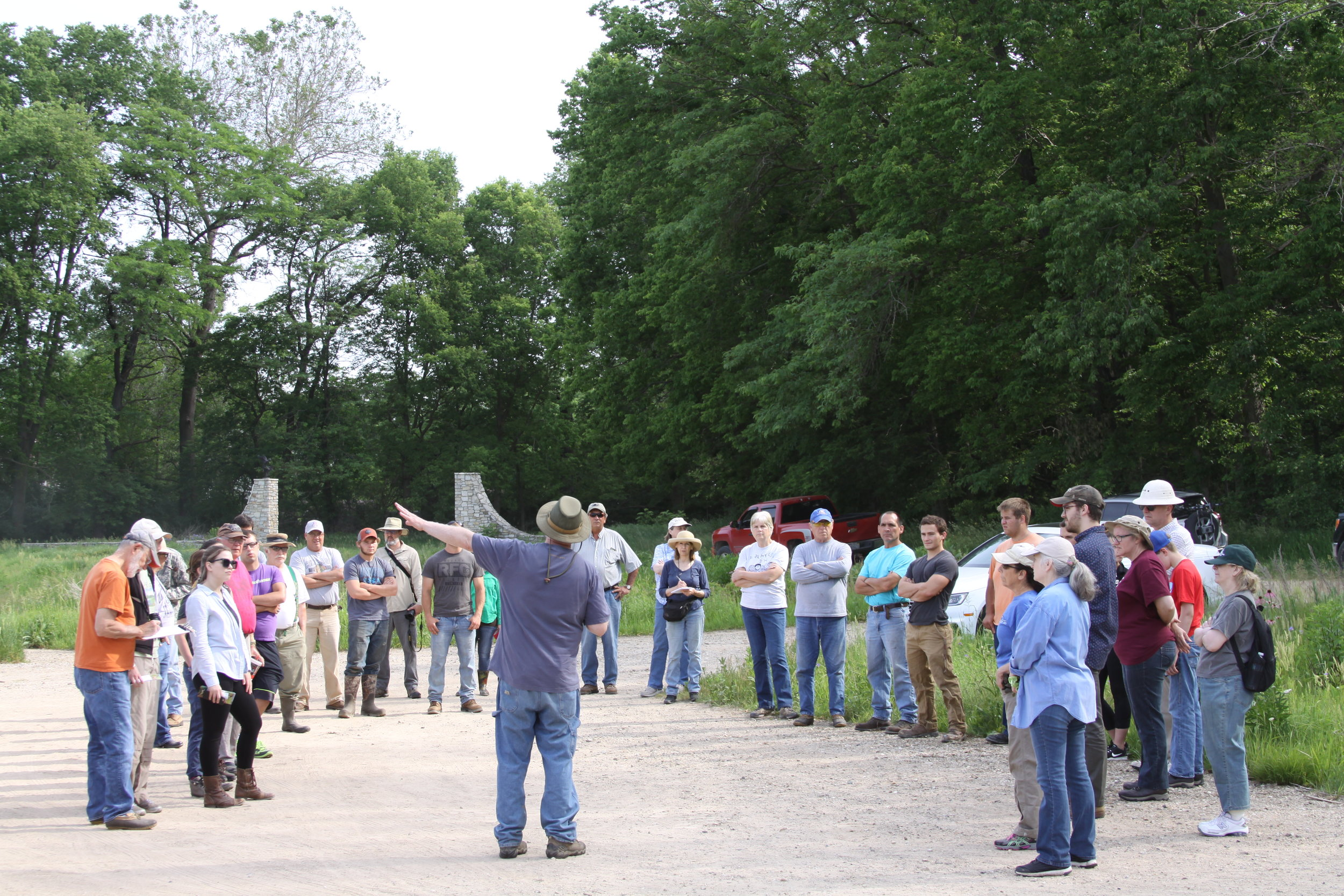 Volunteers receive a history and overview of the Dixon Waterfowl Refuge.