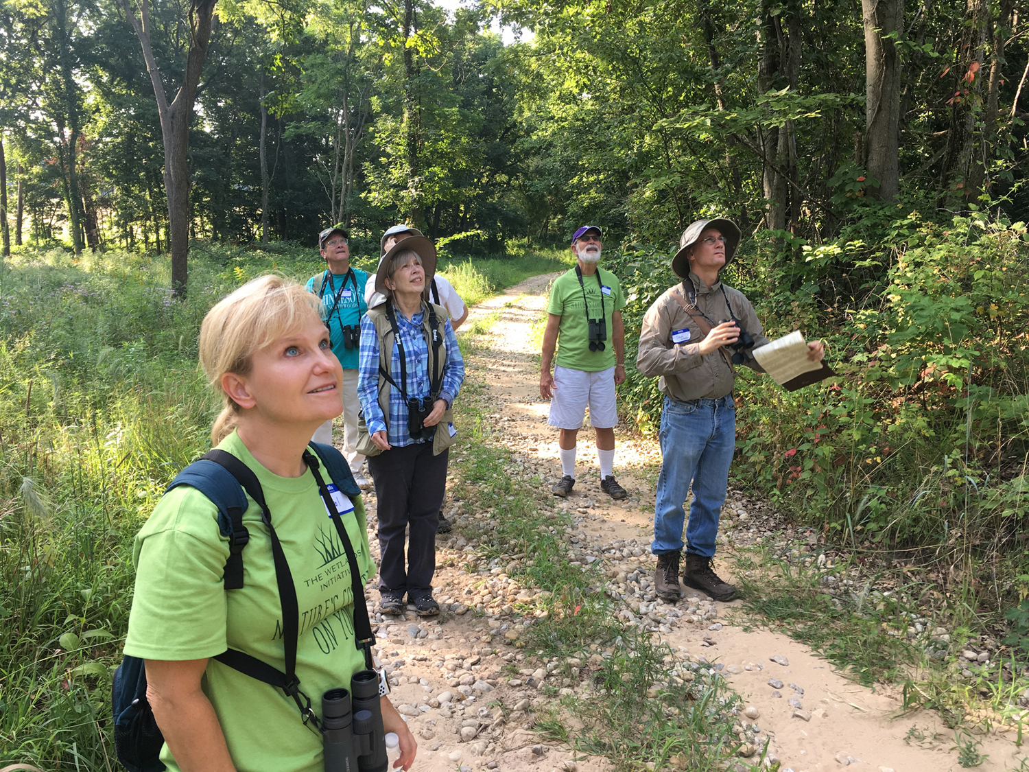A survey group that hiked the trail system at the new Sandy Hollow tract of the Refuge found 50 bird species, including Sedge Wrens, Red-headed Woodpeckers, and Yellow-billed Cuckoos. Photo by Vera Leopold/TWI.
