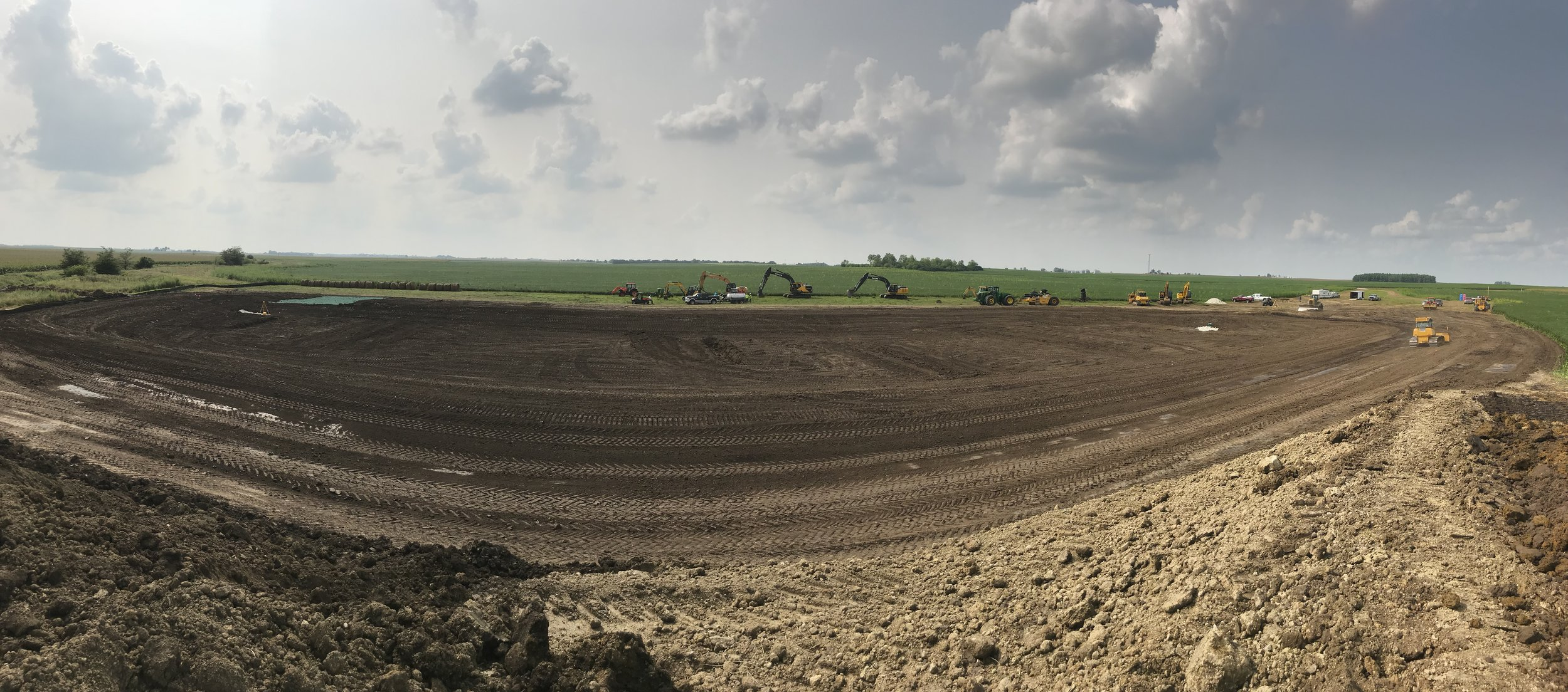 A panoramic view of the just-completed constructed wetland at Fulton Farms. Photo by Jill Kostel/TWI.
