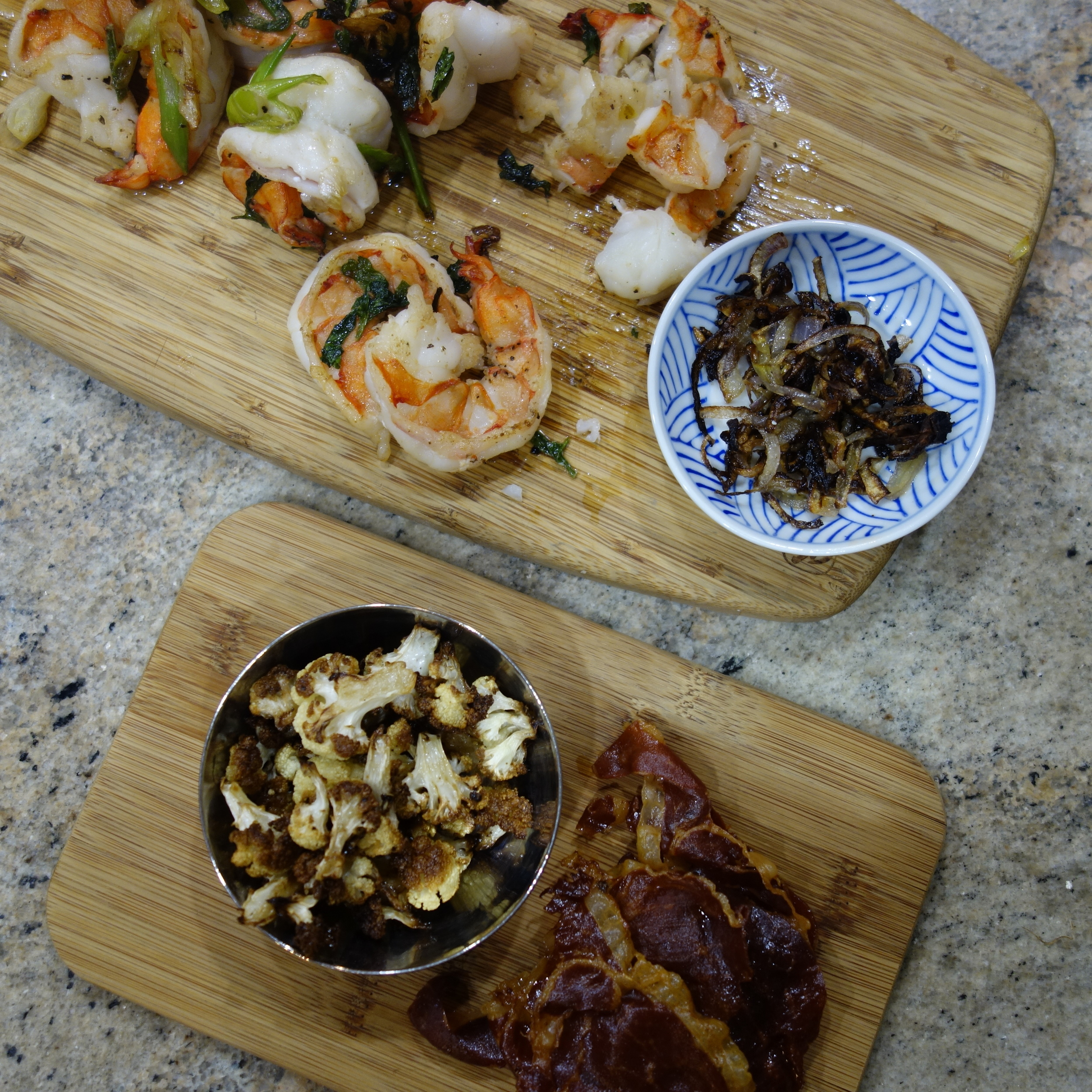 Oh, the possibilities: Grilled shrimp, caramelized shallots, roasted cauliflower, crispy Serrano