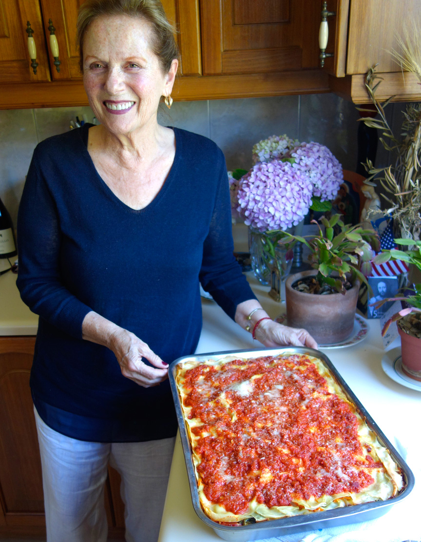 Teresa, pleased with the most amazing vegetable lasagna