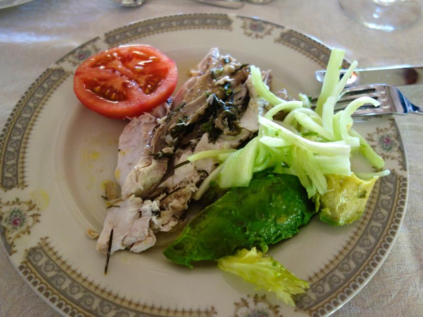 Roasted fish with celery salad, avocado & tomato