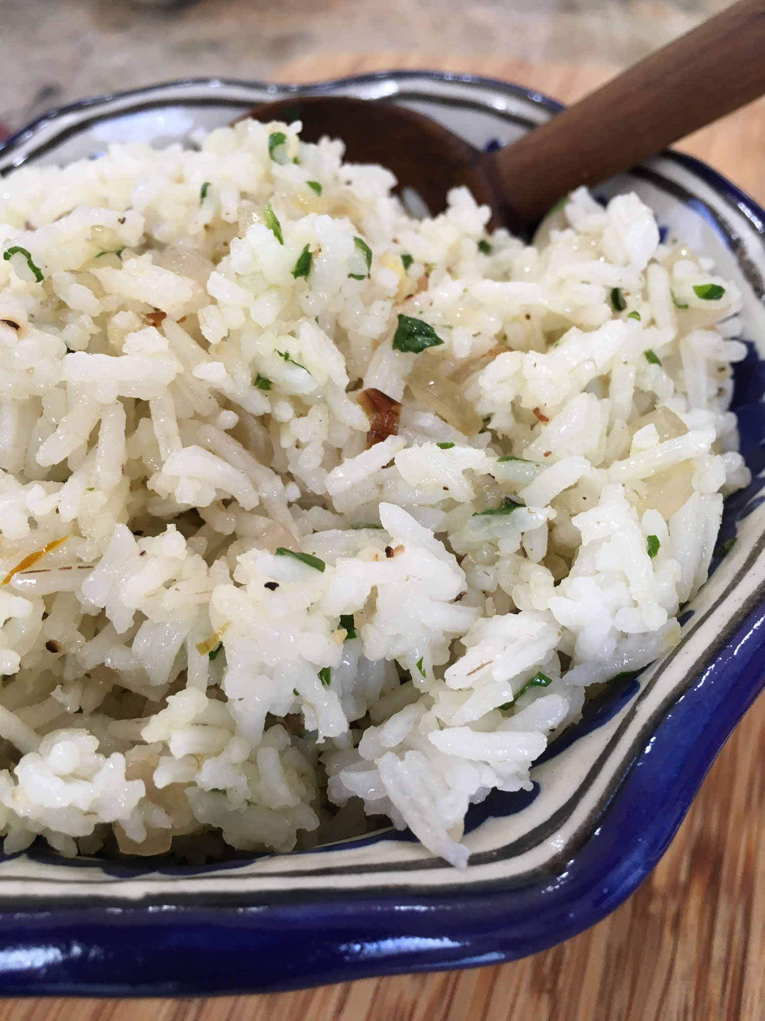 Basmati rice sauteéd with shallots and cilantro