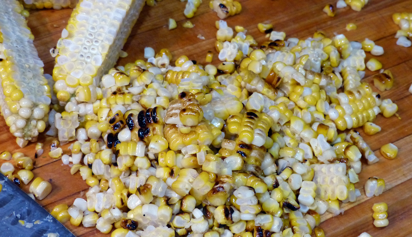 Warm, roasted kernels waiting to join the party.