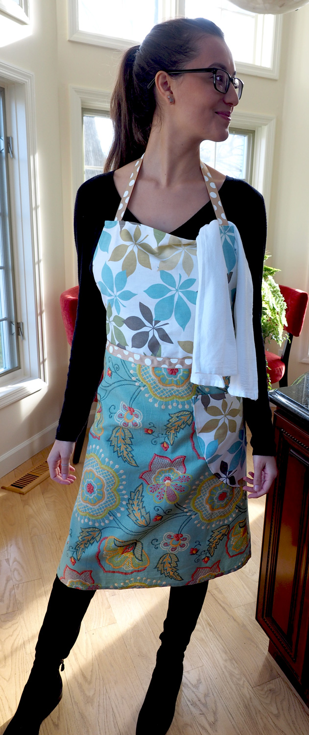 Gabrielle, gorgeously modeling  Muted Floral Greens Apron .