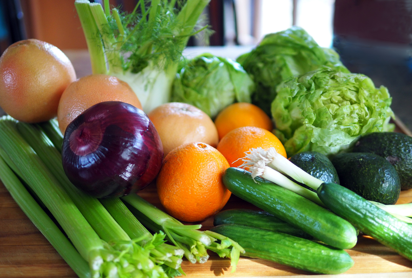 Your starting line up of glorious greens and oranges colors of nutritious, deliciousness.