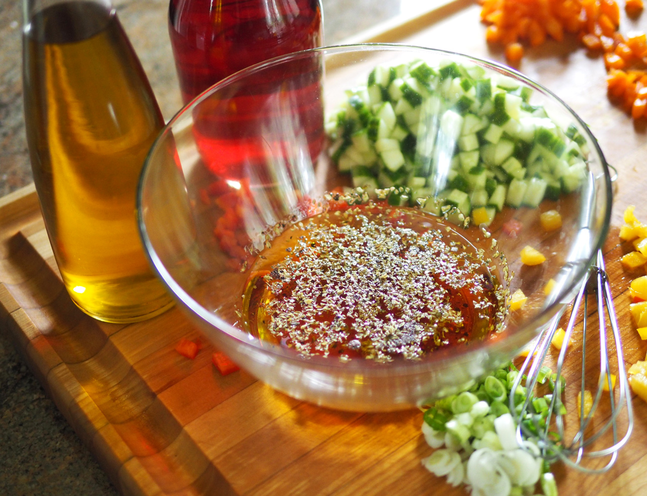 Whisk up or mix up in a jar, and dress the salad up.
