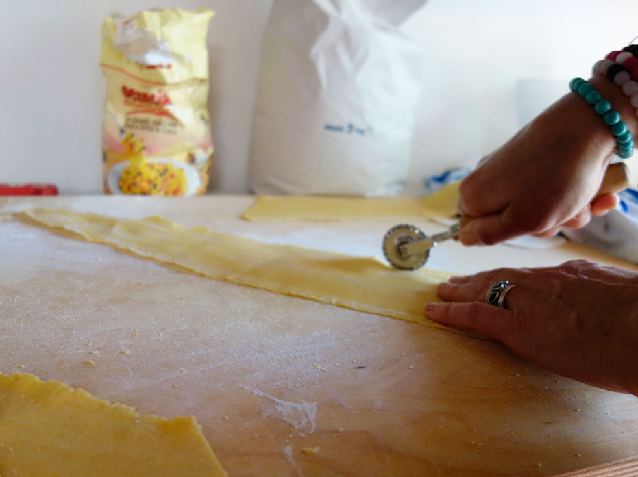 Cutting the pasta intro strips.